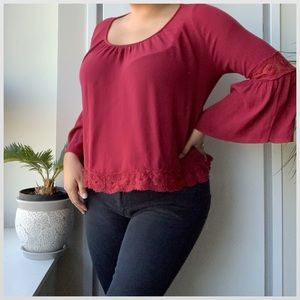 Hollister Maroon Boho Laced Top